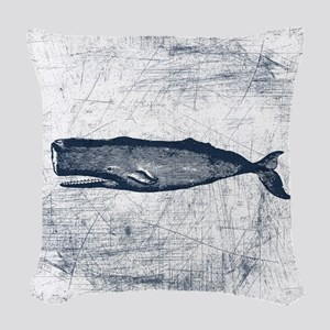 Vintage Whale Dark Blue Woven Throw Pillow